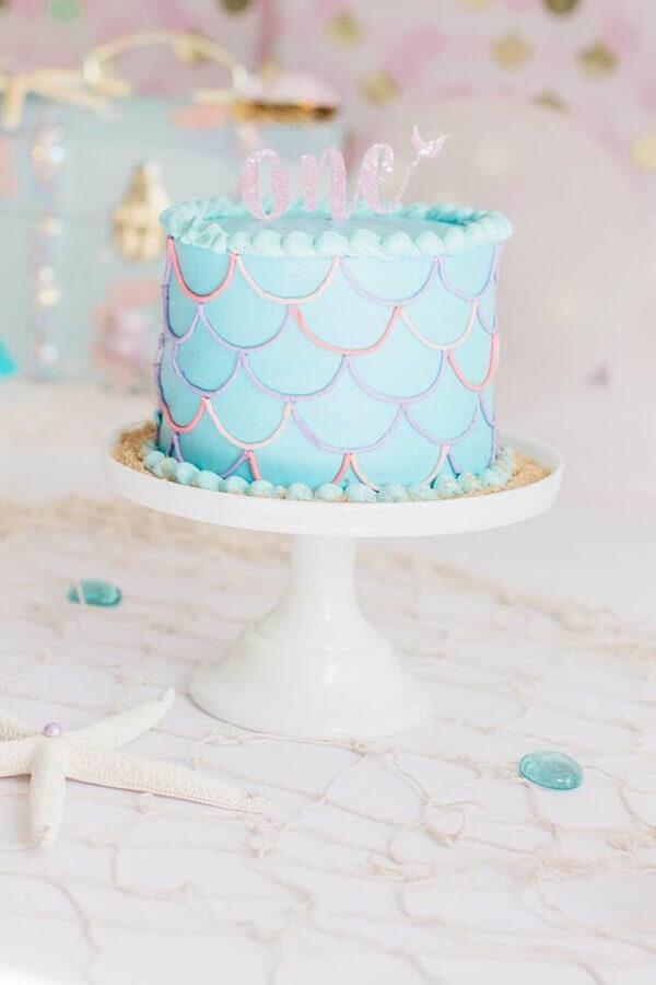 bolo para festa sereia simples  Foto Pinterest