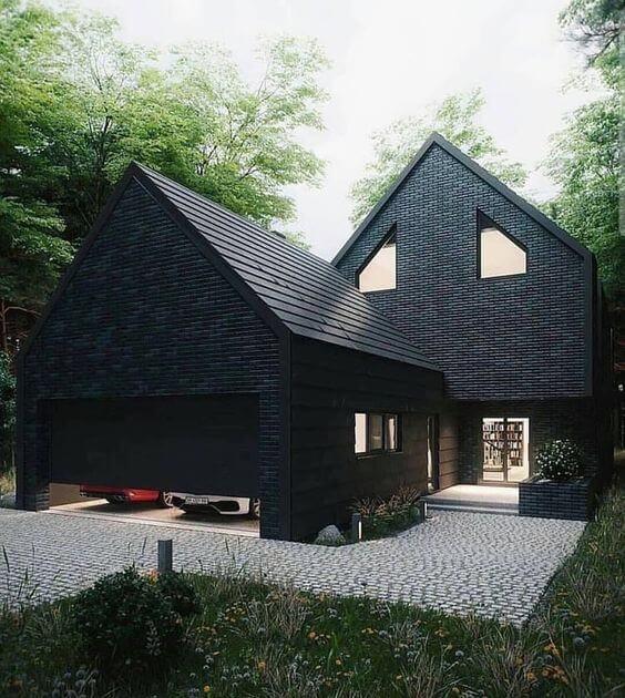 Casa com telha esmaltada preta, super moderna