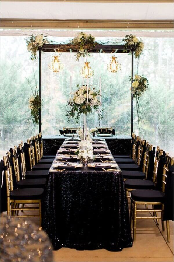 wedding with sophisticated black decoration Foto Pinterest