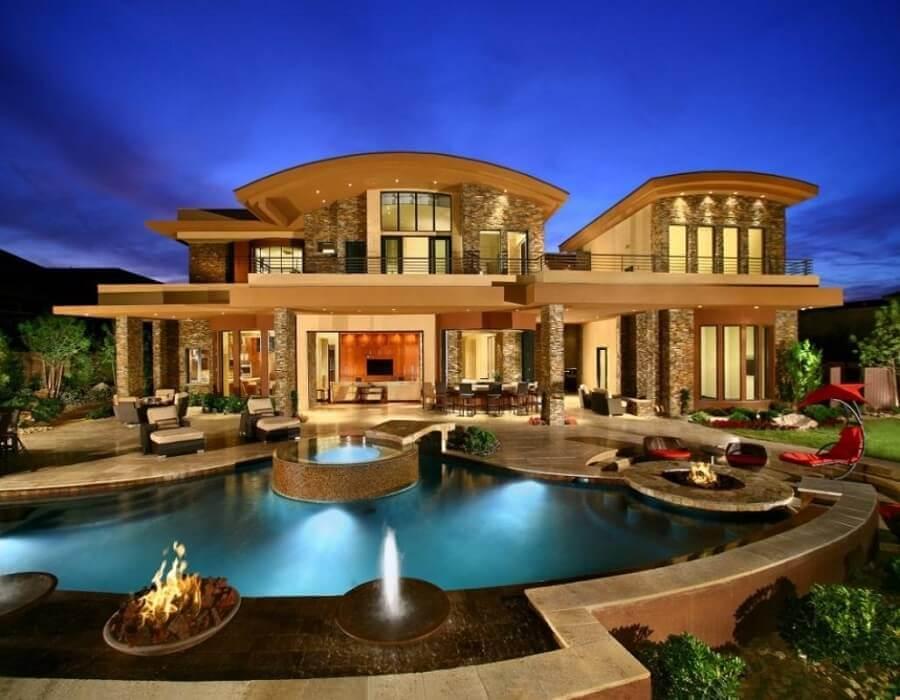 casas de luxo com piscina iluminada Foto Pinterest