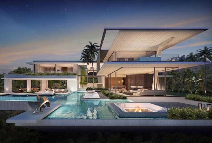 casas de luxo modernas com amplas piscinas e paredes de vidro Foto Architecture Art Designs