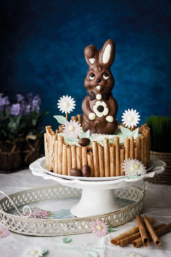coelho de páscoa de chocolate para decoração de bolo de páscoa Foto Pinterest