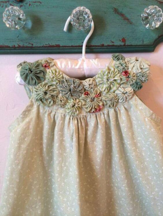Como fazer fuxico na roupa infantil