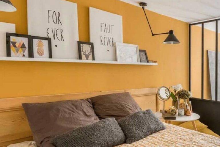 cor mostarda para parede de quarto de casal Foto Ideias Decor