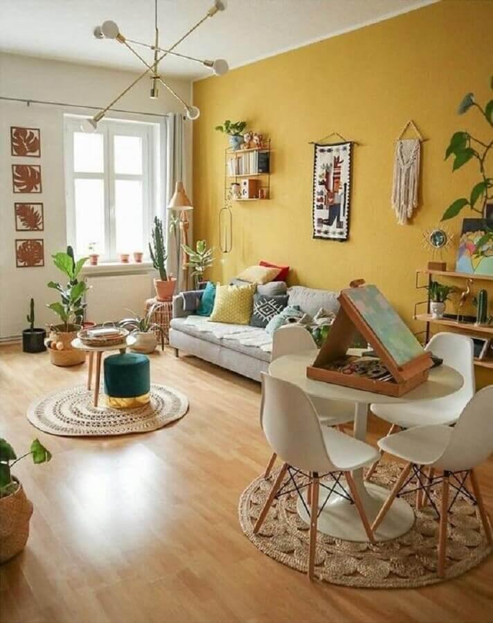 cor mostarda para parede de sala simples Foto My Blog Decor