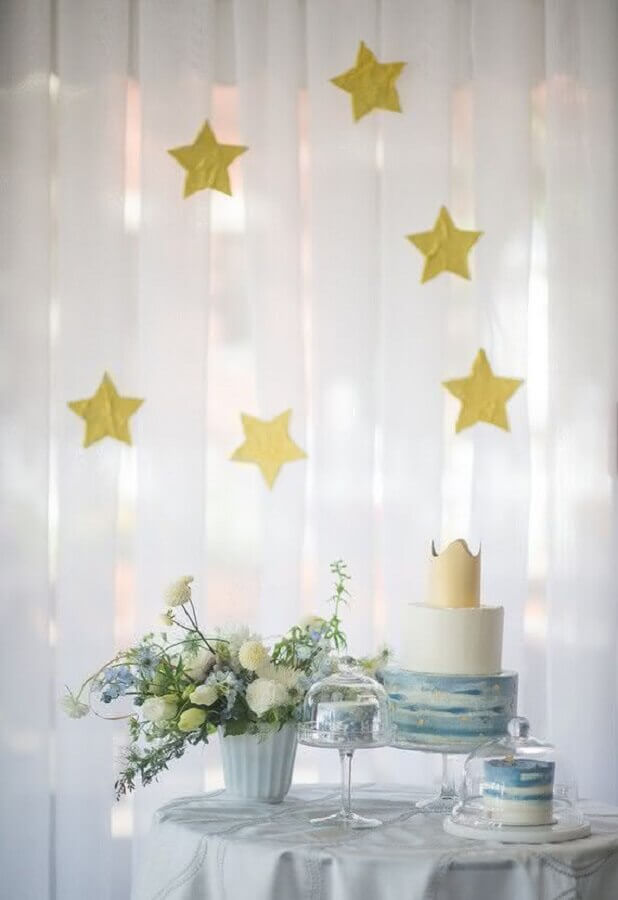 White curtain with gold stars for decoration of baby christening Photo House and Party