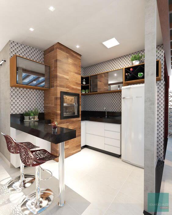 Cozinha pequena com churrasqueira