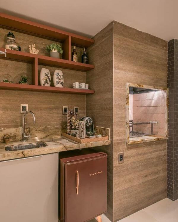 Cozinha com churrasqueira em casa