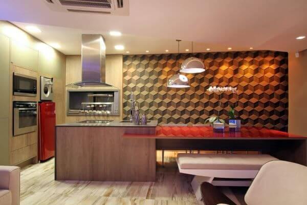 Cozinha com churrasqueira moderna em casa