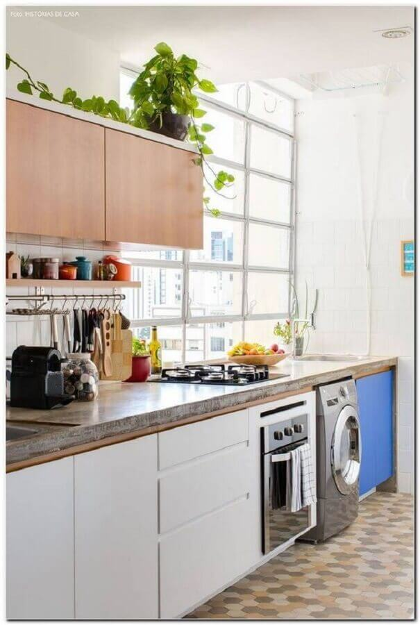 cozinha com lavanderia simples Foto Pinterest