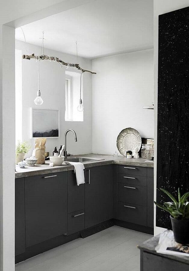 cozinha compacta preta Foto Wood Save