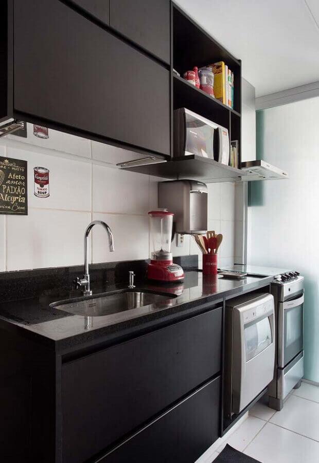 cozinha compacta preta planejada Foto Pinterest