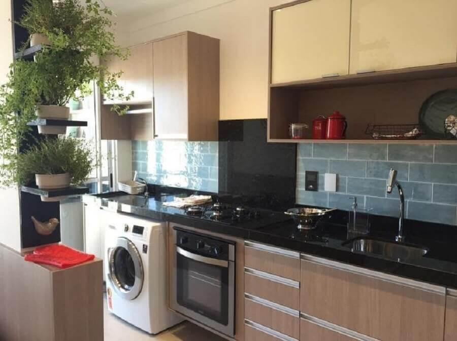 cozinha de apartamento pequeno com lavanderia planejada Foto Meu Ape 213