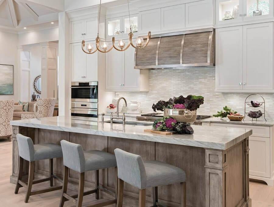 cozinha de casas de luxo com armários planejados Foto Modern Architecture Concept