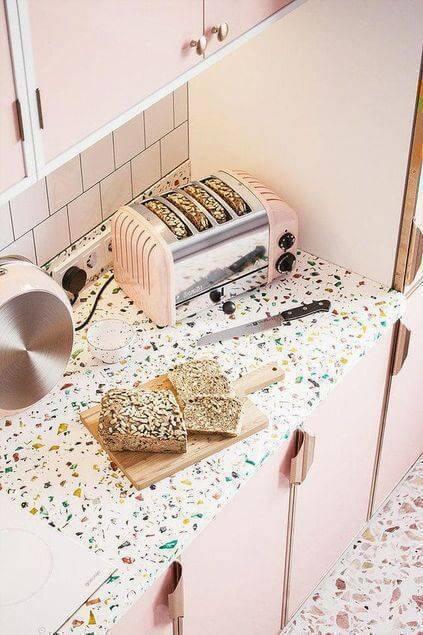 Cozinha decorada com granilite