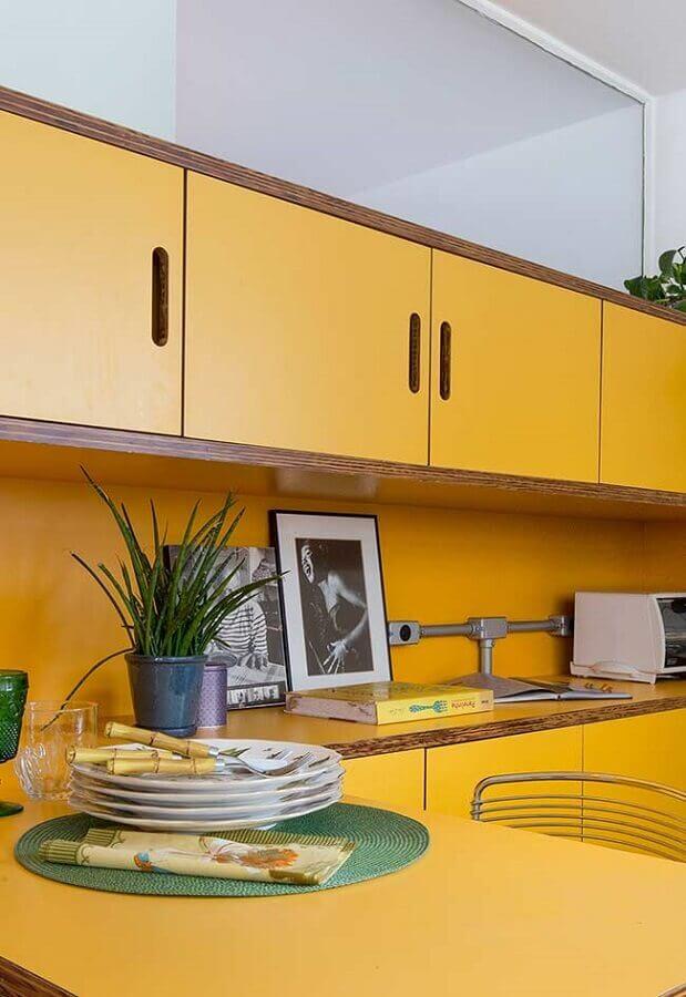 cozinha planejada na cor mostarda Foto Ideias Decor