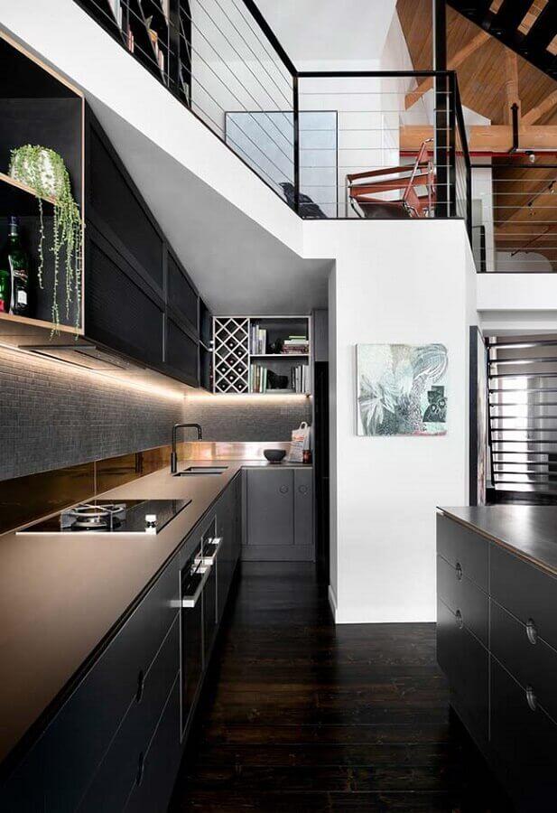 cozinha planejada preta moderna Foto Ideias Decor