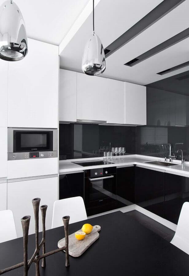 cozinha preta e branca moderna Foto Ideias Decor