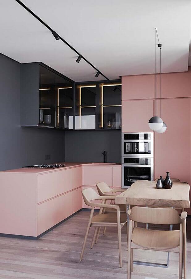 cozinhas modernas decoradas em preto e rosa Foto Pinterest