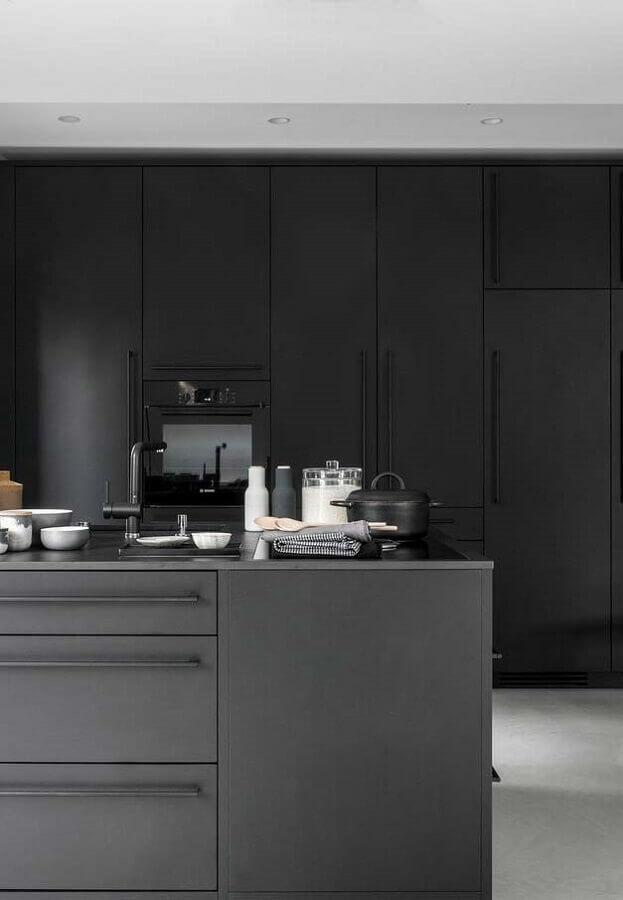 cozinhas modernas preta com ilha Foto Pinterest