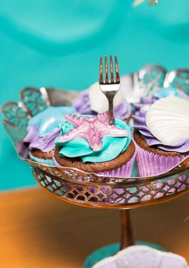 cupcakes para festa de sereia Foto Ideias Decor