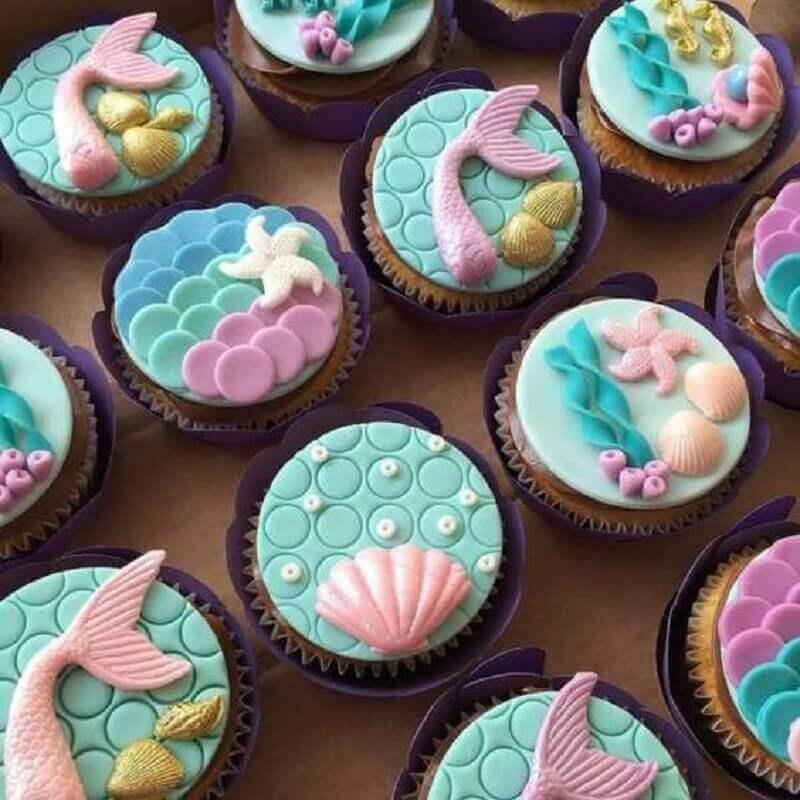cupcakes personalizados para festa infantil sereia  Foto Cupcake Art