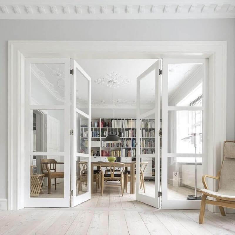 decoração clean com porta para sala com 2 folhas Foto Vahle Door