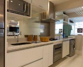 decoração clean para cozinha integrada com lavanderia  Foto Você Precisa Decor