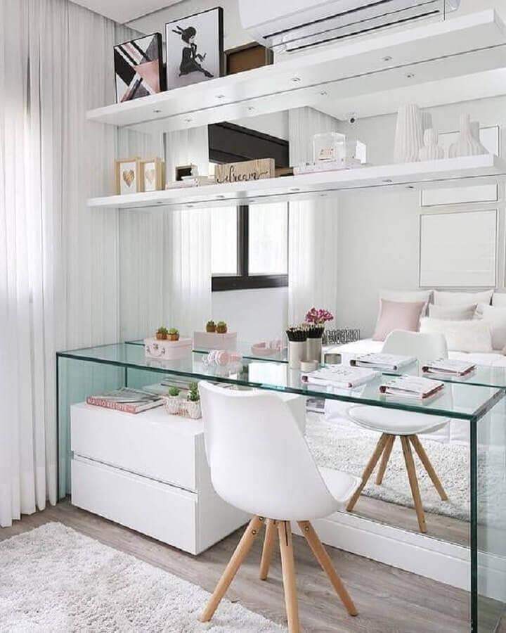decoração clean para home office com bancada de vidro Foto Pinterest