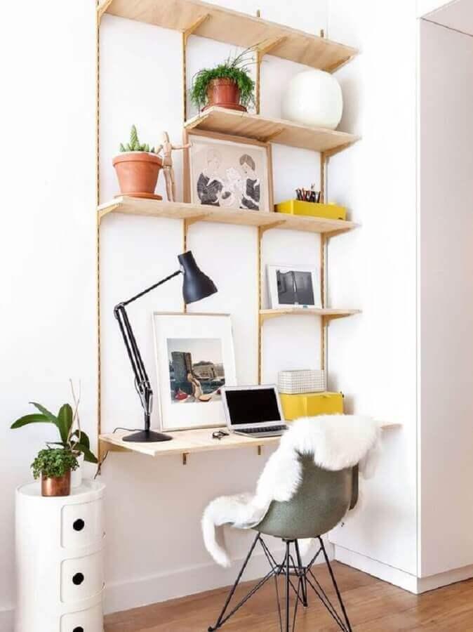 decoração clean para home office pequeno e simples Foto Pinterest