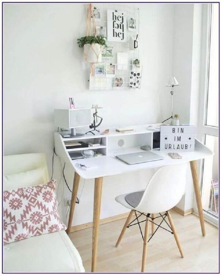 decoração clean para quarto com mesa home office Foto Pinterest