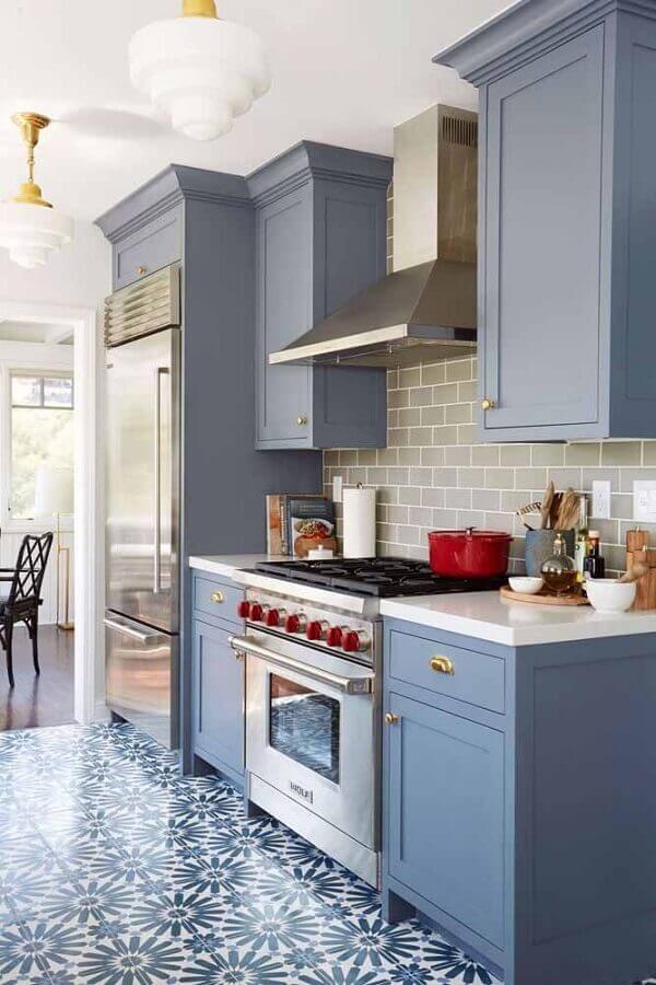 decoração com armários azuis para cozinha retrô Foto Pinterest