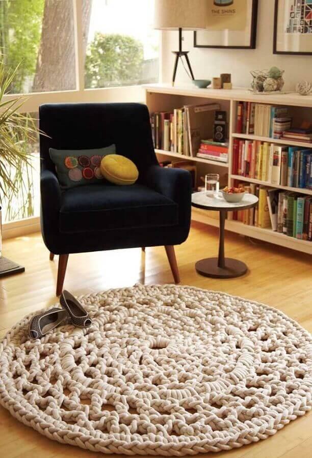 decoração com tapete de crochê para sala Foto Muito Chique