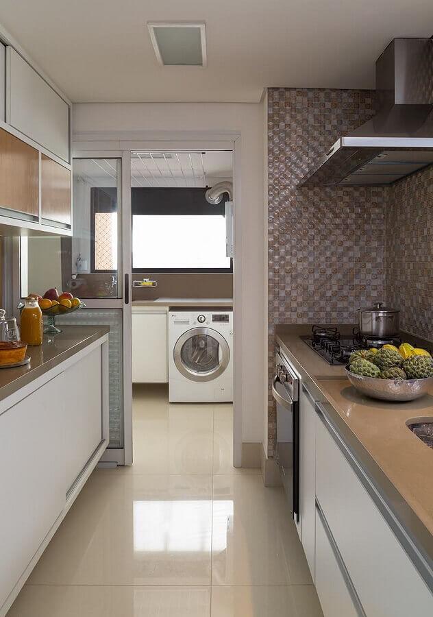 decoração de apartamento com cozinha com lavanderia Foto Pinterest