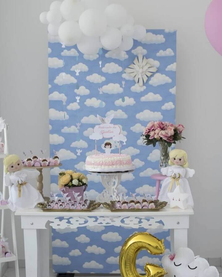 decoration of simple christening of boy Foto Tati Cozer Goulart