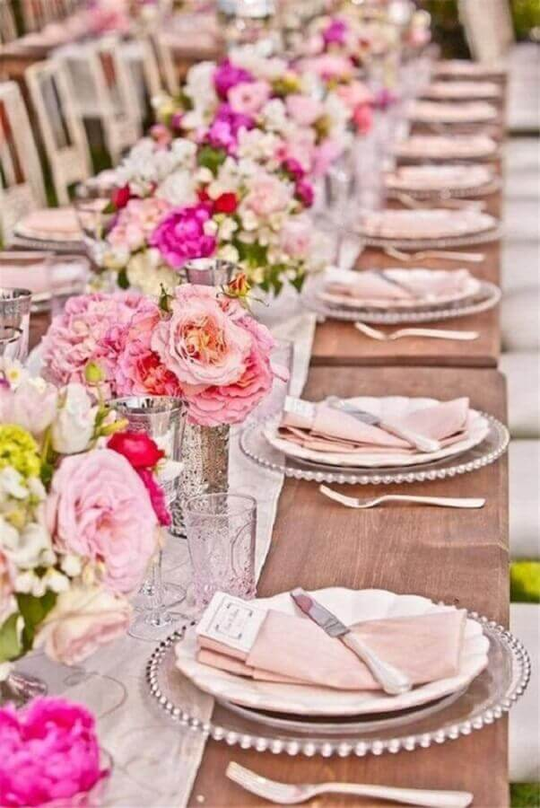 Wedding decoration with pink flower arrangement Photo Etsy