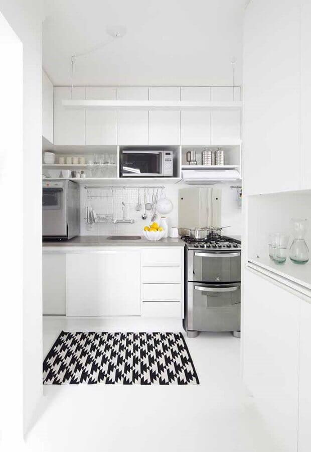 decoração de cozinha planejada toda branca Foto Ideias Decor