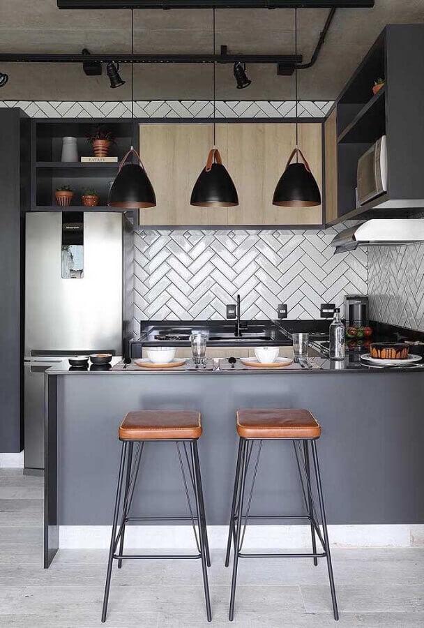 decoração moderna para cozinha americana pequena com banquetas sem enconsto Foto Home Decor Ideas