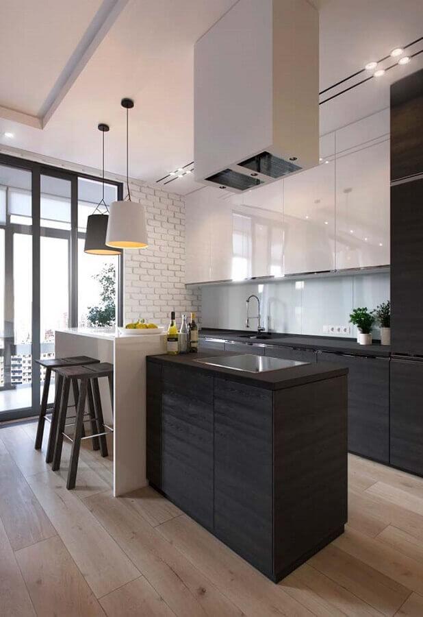 decoração moderna para cozinha com ilha preta e branca Foto Webcomunica