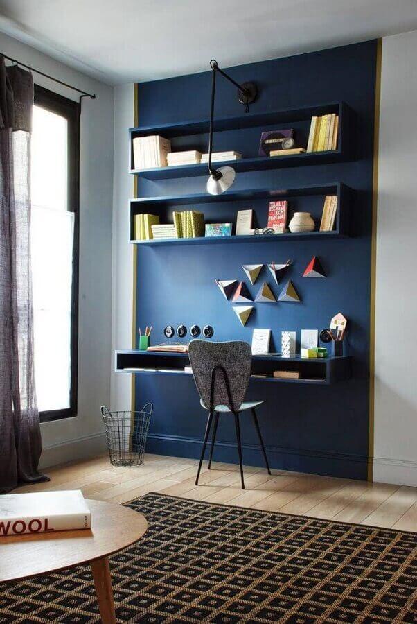 decoração moderna para home office planejado todo azul Foto Blog DecorDiario