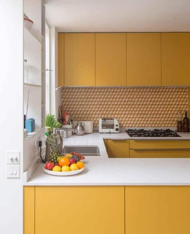 decoração na cor de mostarda para cozinha planejada Foto My Blog Deco