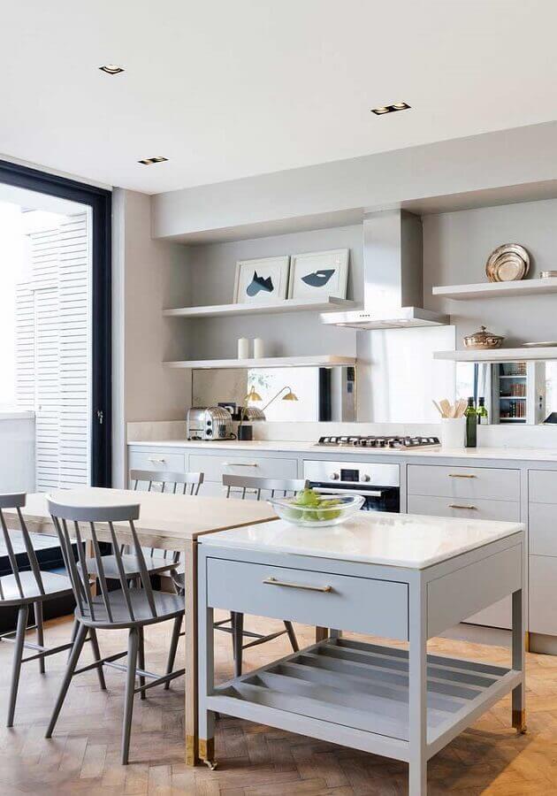 decoração para cozinha com ilha e mesa de madeira Foto Pinterest