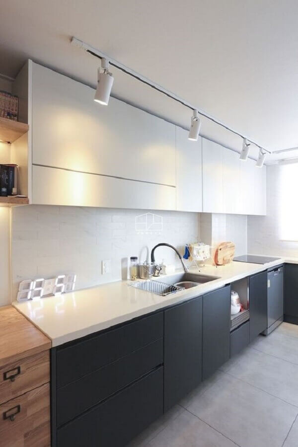 decoração para cozinha preta e branca planejada Foto Pinterest