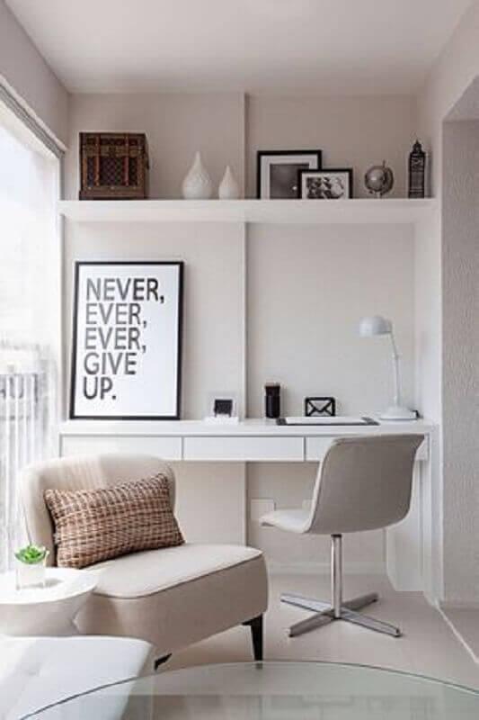 decoração para home office todo branco em varanda planejada Foto Casa de Valentina