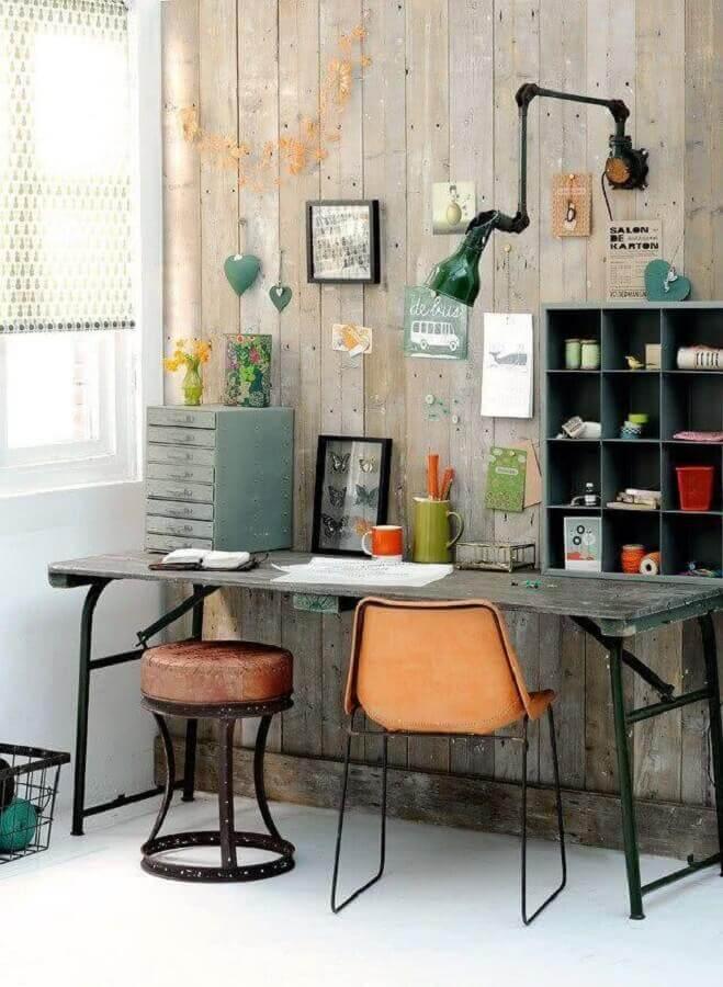 decoração rústica para home office simples Foto SA Home Owner