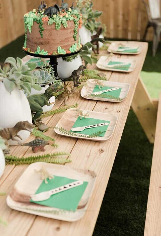 rustic decoration for dinosaur birthday party table Photo 100 Layer Cake