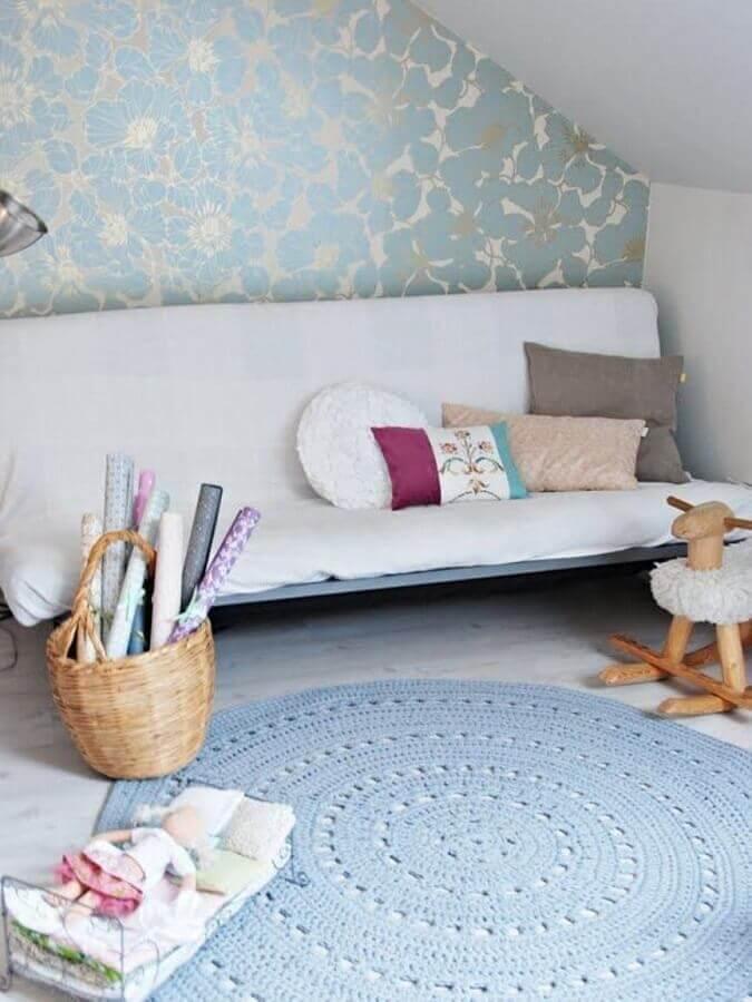 decoração simples com tapete de crochê para sala Foto Muito Chique