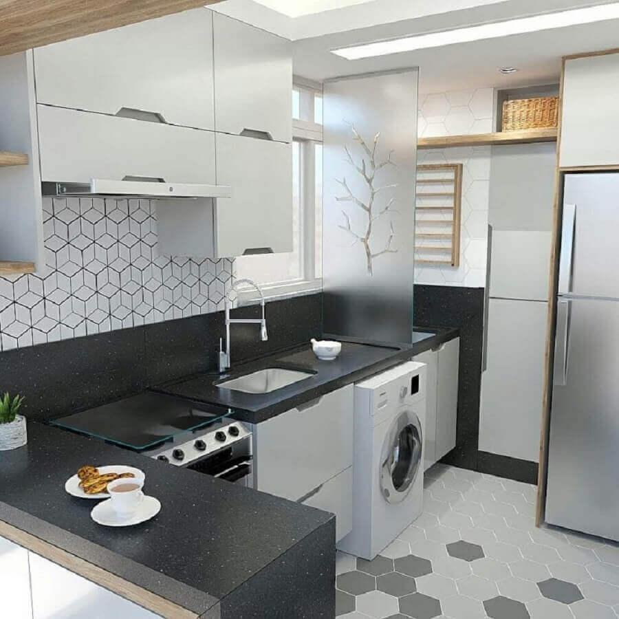 decoração simples de cozinha planejada com lavanderia Foto Dicas Decor
