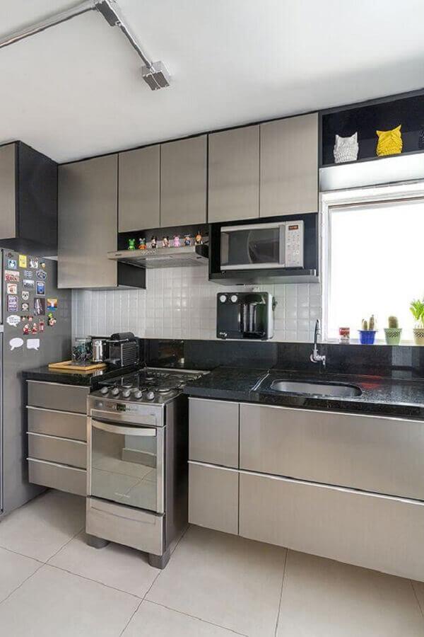 decoração simples para cozinha planejada cinza Foto Pinterest