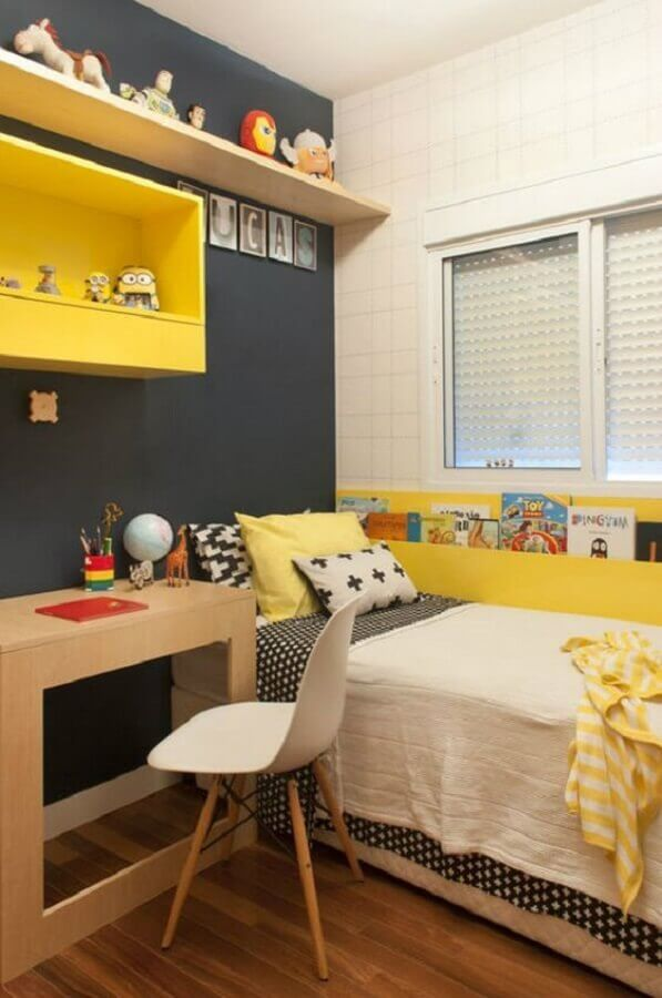 decoração simples para quarto amarelo e preto Foto Casar É
